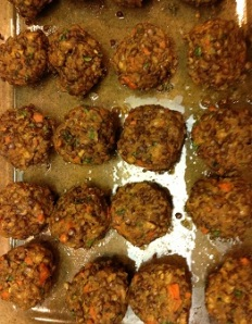 Veggie Lentil Meatballs in pan