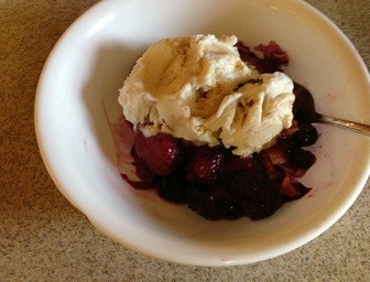 Berry pudding with ice cream