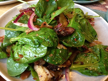 Jerusalem spinach salad