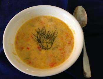Corn & smoked salmon chowder
