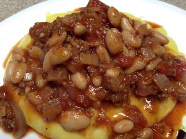 Vegetarian Italian sausage, bean and tomato ragout